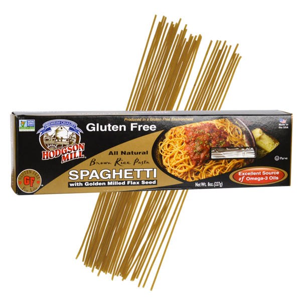 gluten-free brown rice spaghetti with golden milled flax seed